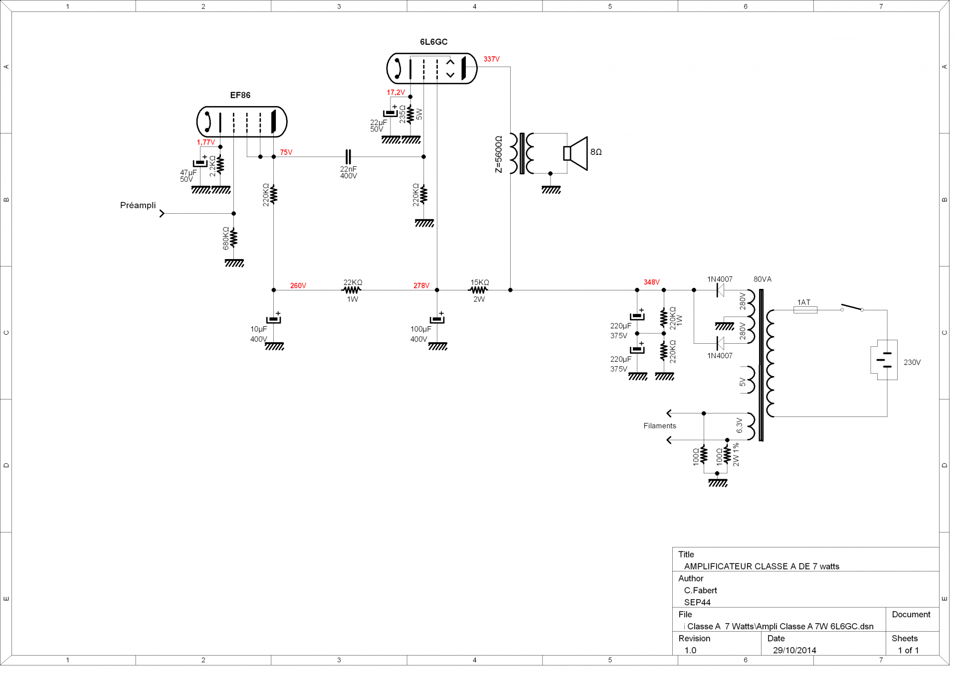 amplificateur classe a de 7 watts. Black Bedroom Furniture Sets. Home Design Ideas